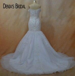 Image 2 - Кружевное свадебное платье с юбкой годе, без рукавов, со шлейфом