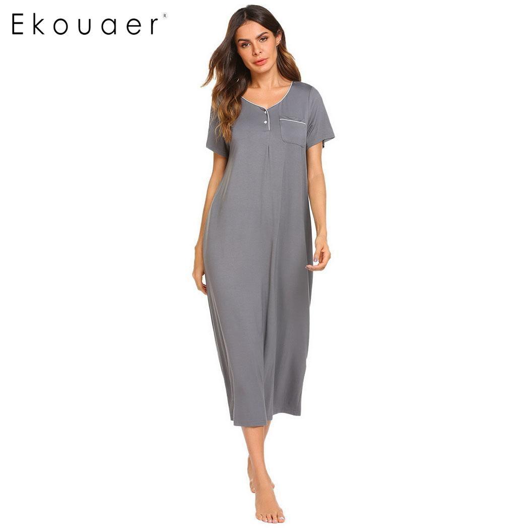 Ekouaer Long   Nightgown   Chemise   Sleepshirts   Dress Casual Solid Pocket V Neck Sleepwear Women Short Sleeve Female Nightdress