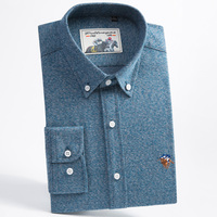 Men's Long Sleeve Brushed Solid Button Down Shirt with Embroidered Logo Comfortable Premium 100% Cotton Slim fit Dress Shirts
