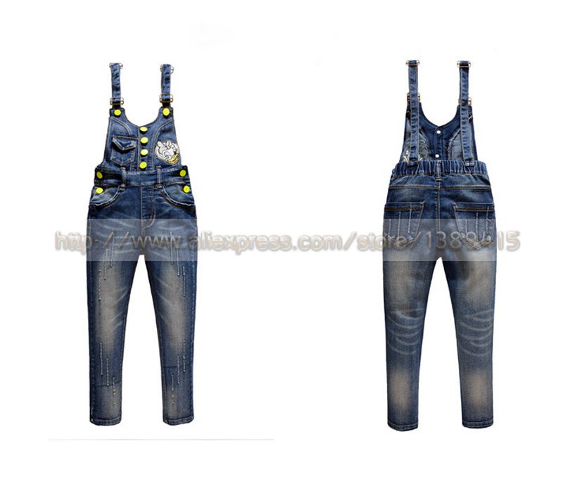 782ed3797 Girls Denim Bib Pants Girls 2 12years Button Trim Braces Suspenders Retro  Pants For Girl Special Teenager Denim Rompers-in Jeans from Mother   Kids  on ...