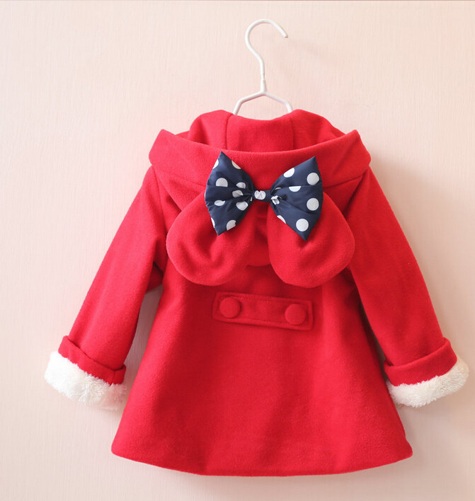 ФОТО YR30853165 Retail 2015 New Winter Girl Outerwear Solid Pink Hooded Appliques Bow Girl Coat Winter Fleece Children Clothes