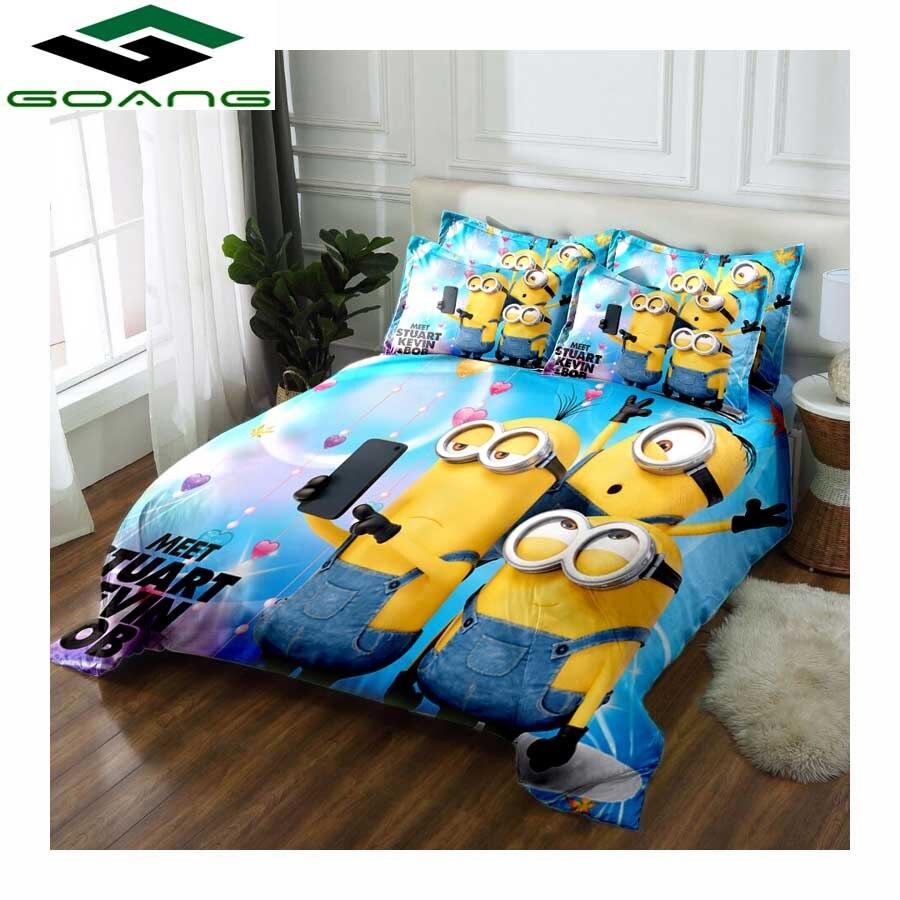 GOANG Kids Bedding Set Bed Sheet Duvet Cover Pillow Cases 3pcs King Size Bedding Sets 3d Digital Printing Cartoon Minions