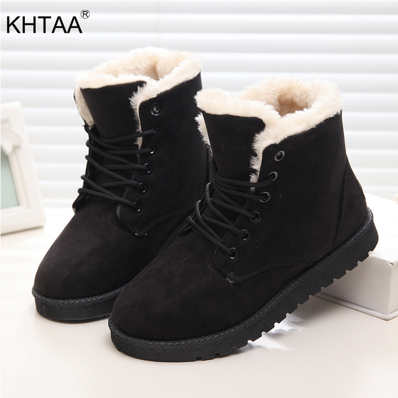 KHTAA Winter Snow Boots Warm Flat Plus Size Ankle Boots