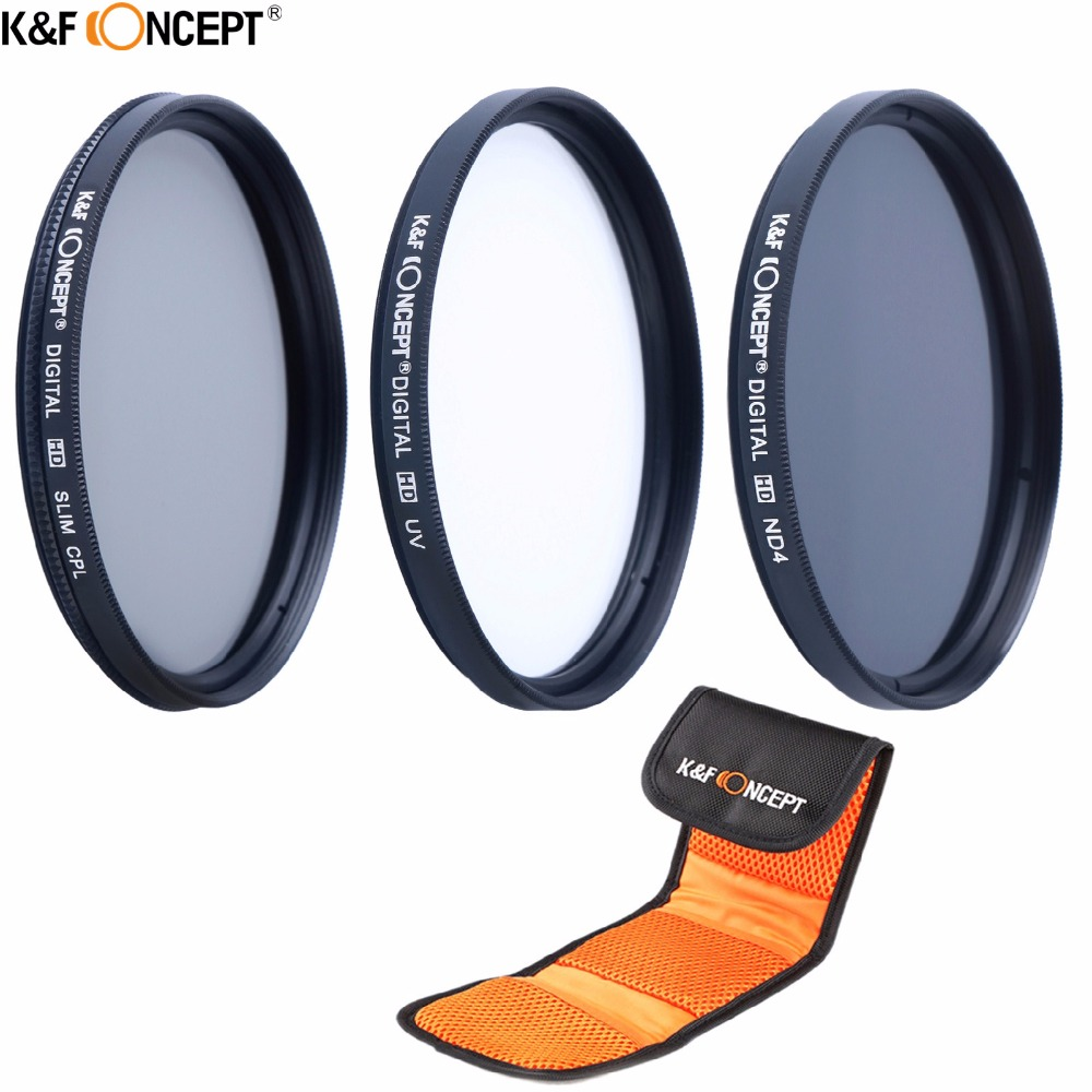 K&F CONCEPT 3pcs 72mm UV CPL Circular Polarizer ND4 Neutral Density Lens Filter Kit +Pouch/Bags For Nikon Canon Sony Cameras