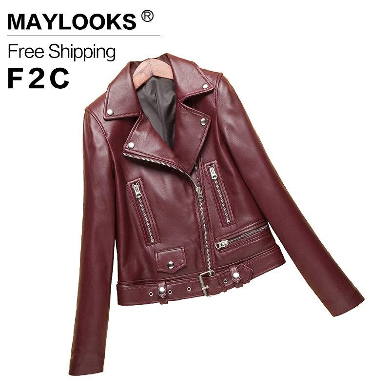 2017 New Fashion Spring Autumn Women sheepskin Long Sleeve Coat Zipper Design Motorcycle genuine leather Jacket LE002