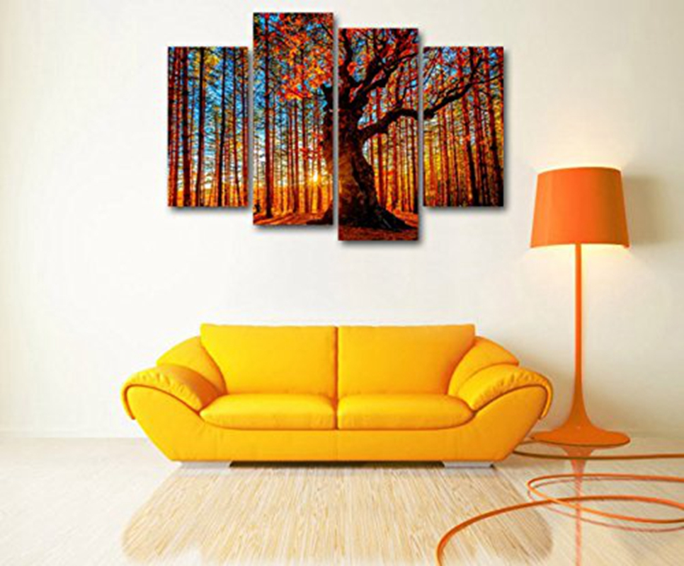 Canvas Wall Art Red Tree Branches Sunset Forest Nature Pictures ...