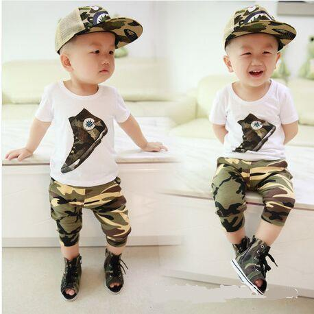 2016 Summer New Baby boys Clothing set O-neck camouflage short Cotton 100% baby sets clothes A201