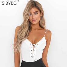 Sexy Lace Up Bodysuit Women 2018 Summer Backless Deep V Neck Slim Playsuit Bodycon Rompers Womens Jumpsuit Overalls Tops