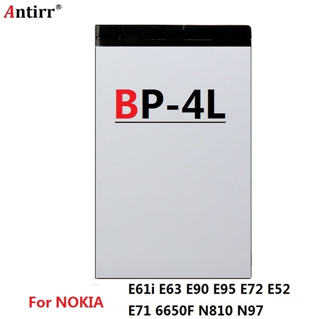 Original Antirr Brand BP-4L Battery For Nokia E61i E63 E90 E95 E71 6650 6760 N97 N810 E72 E52 BP4L BP 4L Phone Recharge