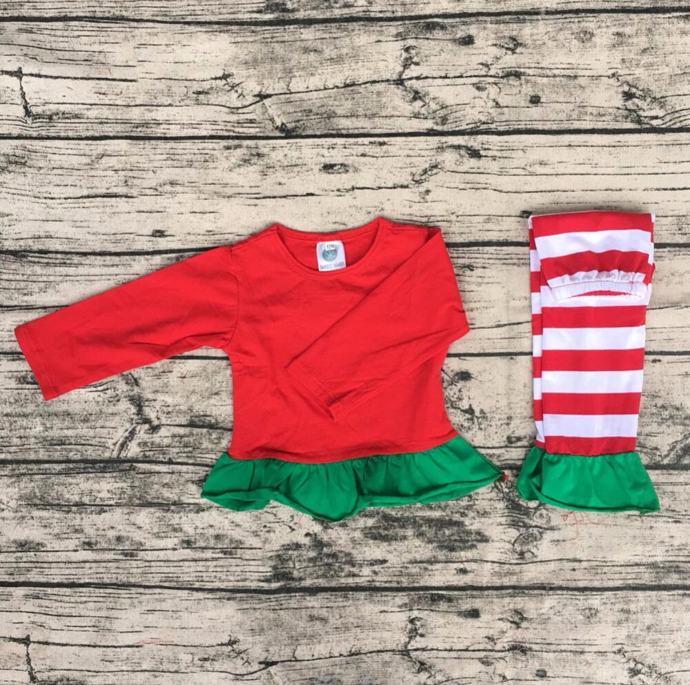 Christmas baby girl cute green lace pajamas child pure red shirt match red stripe pant suits