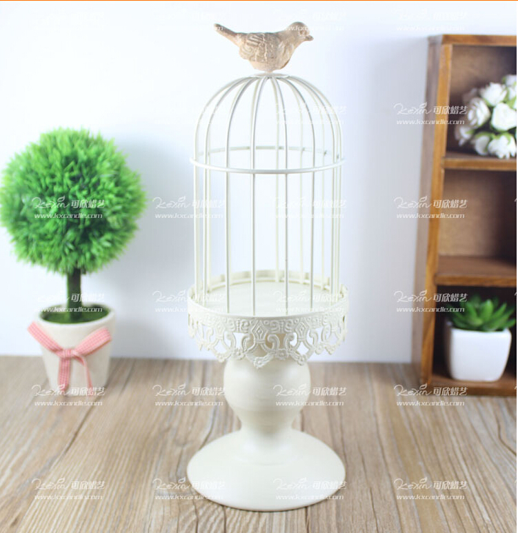 Modern White Iron Candle Holder Decorative Bird Cage Wedding Bird