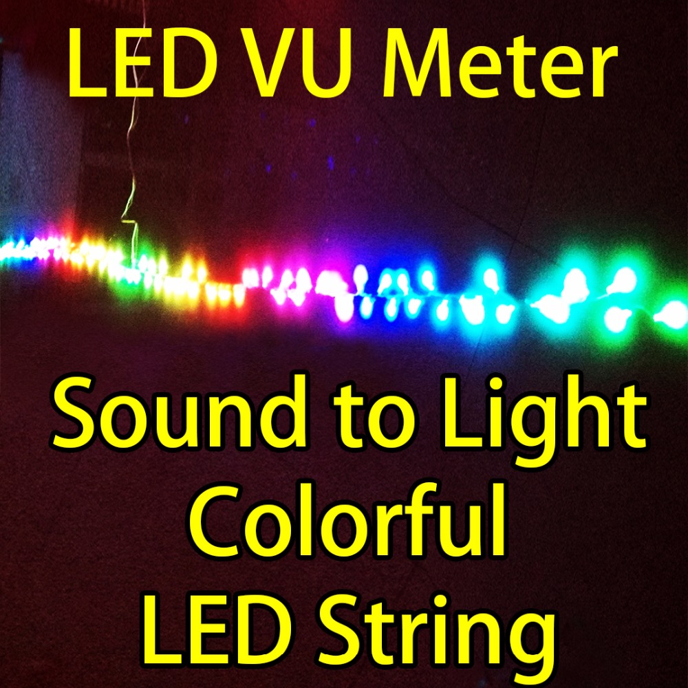 Sound to Light, LED VU meter reactive to ambient sound, including 7 meters(23 feet) of RGB LED Strings / Strip.  LED color organ