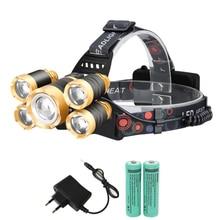 Headlight 40000 Lumen headlamp CREE XML 5 LED T6 Head Lamp Flashlight Torchhead light with 18650 battery DC charger