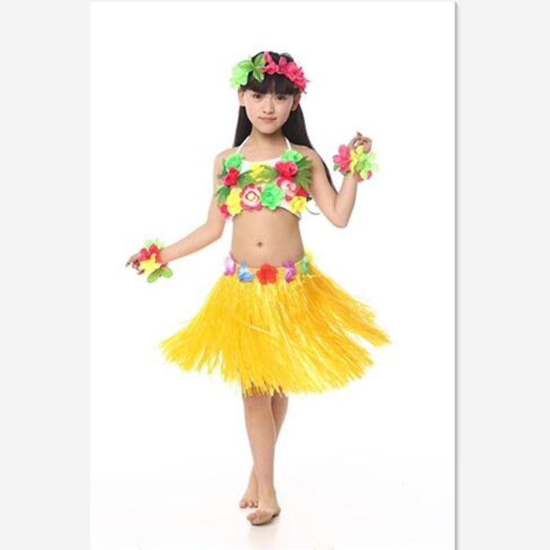 New Cheerful Girls Hawaiian Dance Costumes Fairy Princess Style Lovely Flowers Tassel Children ...