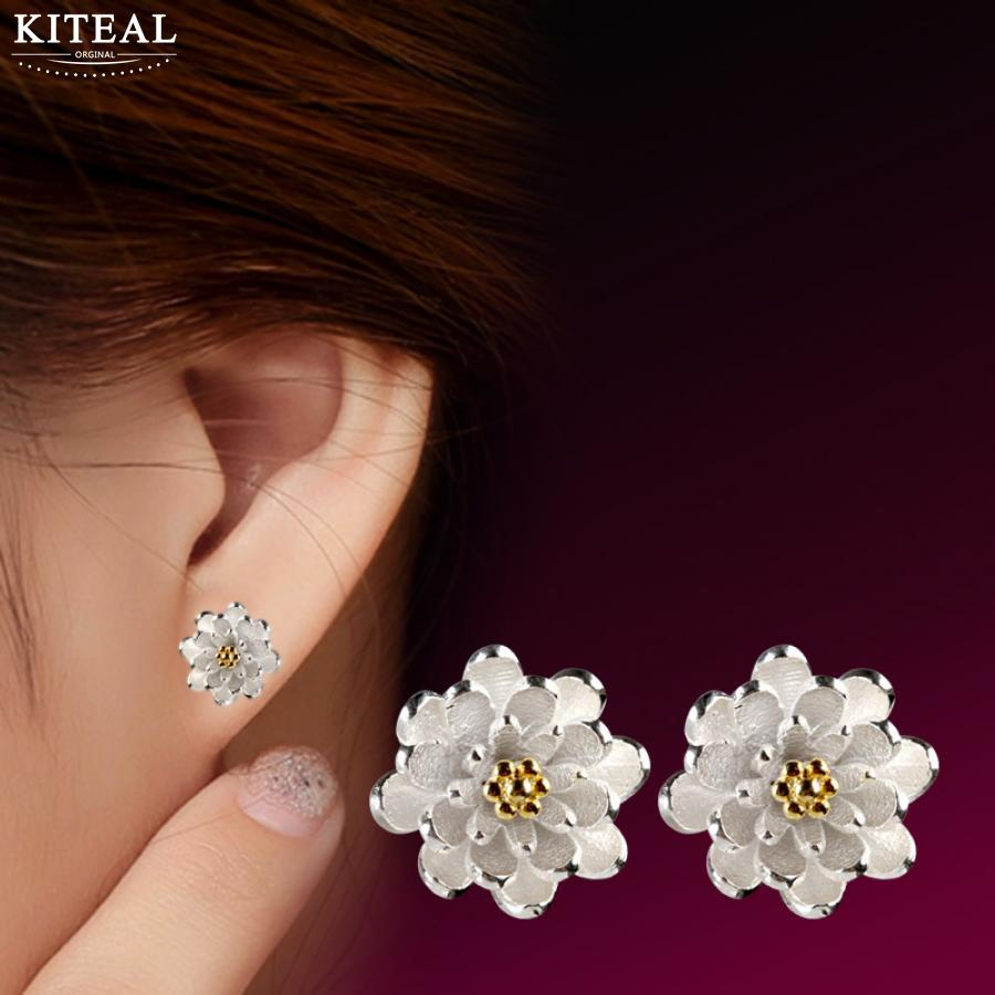 Kiteal wholesale Lotus Cherry blossoms Earrings Accessories 925 jewelry Silver Women Beautiful Luxury Jewelery Gift