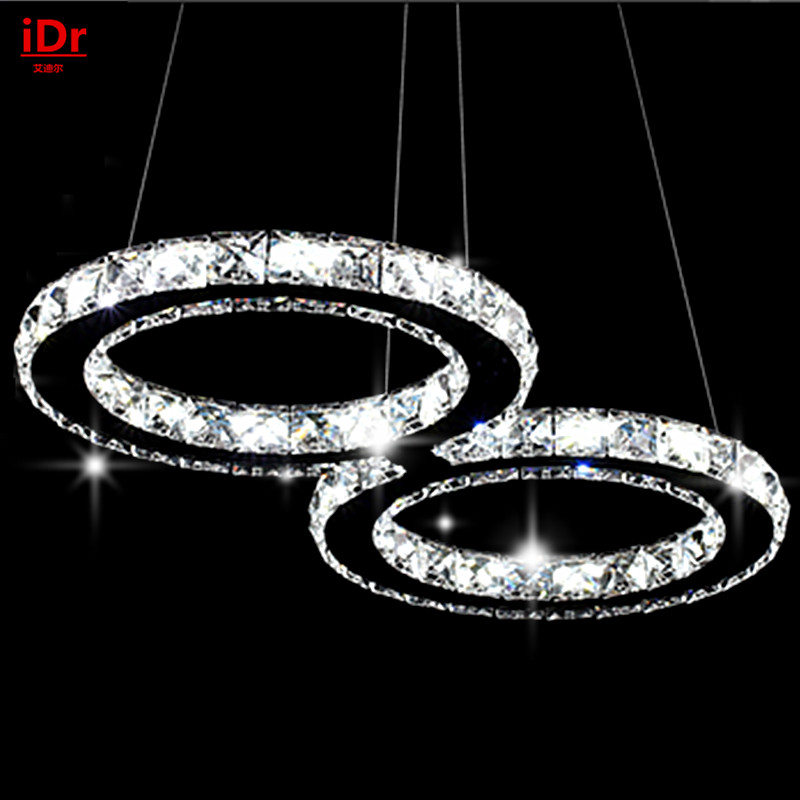 Wholesale stainless steel crystal chandelier restaurant chandelier 8 Peanut type bicyclic Restaurant lights led crystal chandelier lamp can be customized stainless steel restaurant