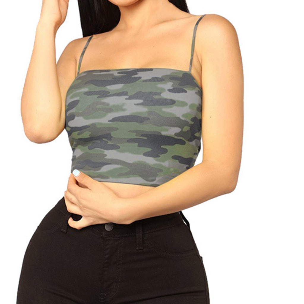 Women's Camouflage Sleeveless Vest female Summer Sports Skinny Bra Vest ladies Cropped Shirt Camis Top camiseta tirantes mujer