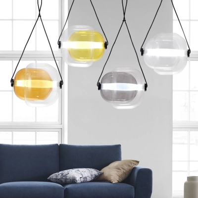 Modern pendant lamp simple restaurant bar counter bedroom lamp creative personality glass single pendant light ZL233 modern restaurant single head bar counter creative personality nordic retro glass lamp act the role ofing goldfish bowl