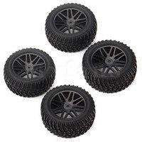 4 Pcs Off Road Vehicle Wheel Rim Black Tires Rubber 1 10 85mm Outer Diameter