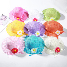 2019 New Children Sunscreen Hats Manual Weaving DIY Sun Flower Hollow Straw Hat Student Outdoor Casual Shade Cap Girls