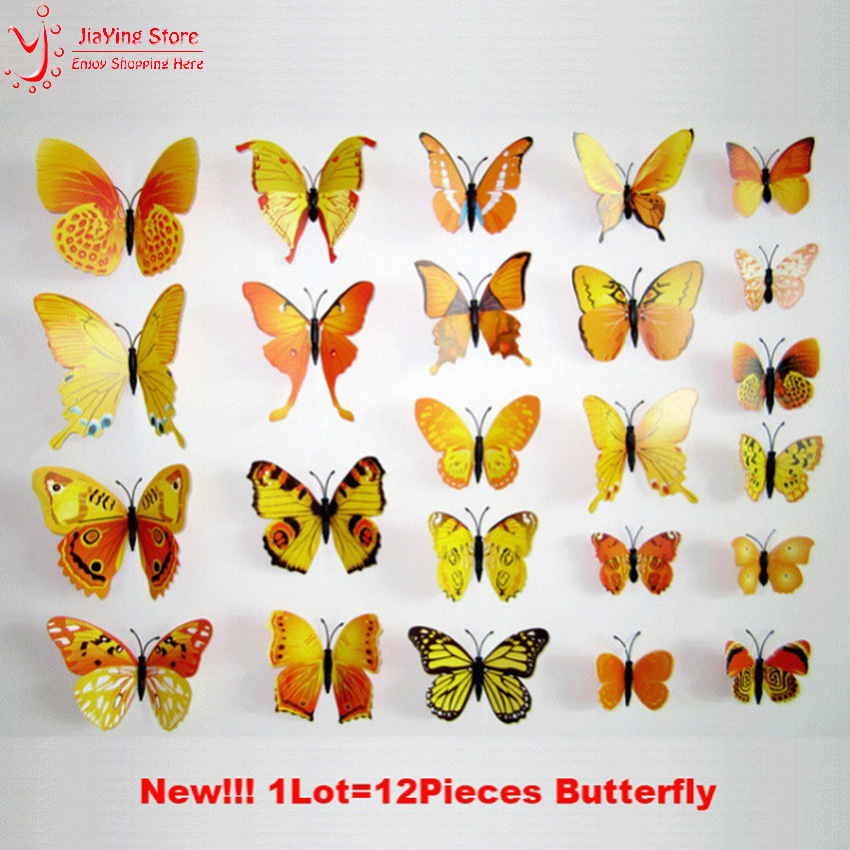 12PCS Double Wings House Decoration Magnet Butterflies Refrigerator ...