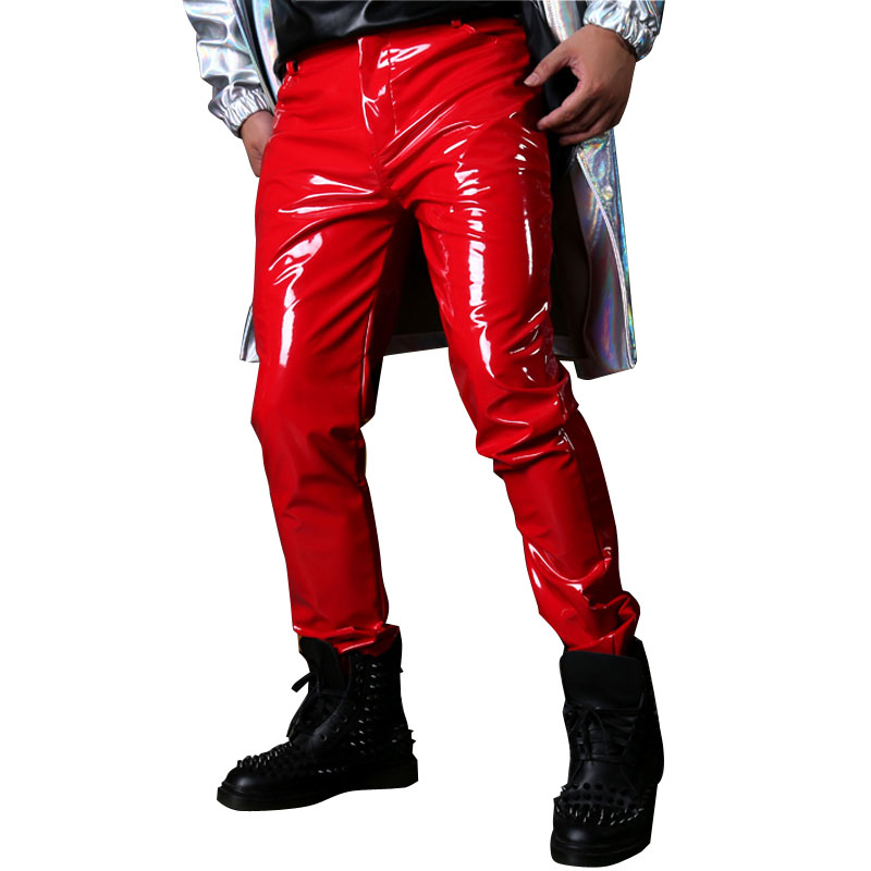 Men Red Patent Leather Pant Custom Made Male Fashion Singer Dancer Hip Hop Style Slim Fit Trousers Stage Show Costumes-in Leather Pants from Men's Clothing