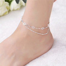 2019 New 925 Silver Sequins Anklet for Women Fashion Punk Style Link Chain Anklets Accessories Boots Bijoux femme Jewlery AB165(China)