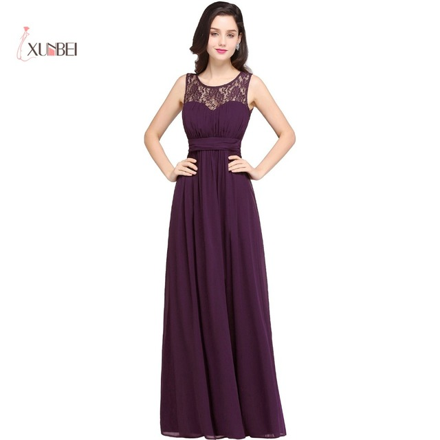1c5b86c3274a Elegant Chiffon Long Bridesmaid Dresses Crew Neck Lace Top Empire Ruched  Formal Wedding Guest Party Dresses