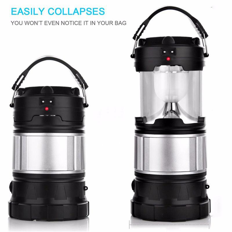 Portable Outdoor LED Camping Lantern Solar Lamp Lights Handheld Flashlights For Backpacking Hiking Fishing Emergencies Outages