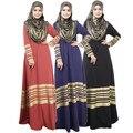 2015 Nuevo Abaya Musulmán Turco de Rayas Vestidos Largos de las mujeres Ropa Vestido Abaya Ropa Musulmán Para Las Mujeres Largo Maxi Kaftan
