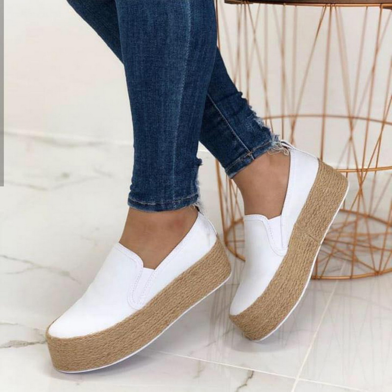 Laamei Shoes Women Sneakers Platform Lace-Up Round-Toe Thick-Bottom Autumn Casual Mujer