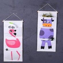 Fabric Hanging Storage Bag Cartoon Animals Linen Cotton Wall Door Closet 3 Pockets Storage Bag Organizer For Bathroom Bedroom banjini bathroom bagping bagping court bag patch card cotton