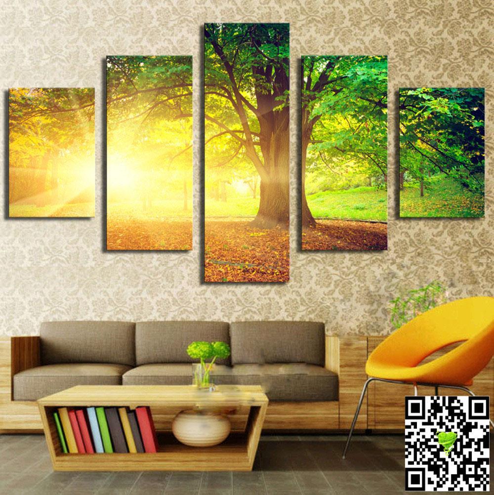 Špičková kvalita zelených stromů a slunce pěkná krajina Moderní domácí nástěnná dekorace Obraz na plátně Art HD Print Painting Obraz na plátně Unframed