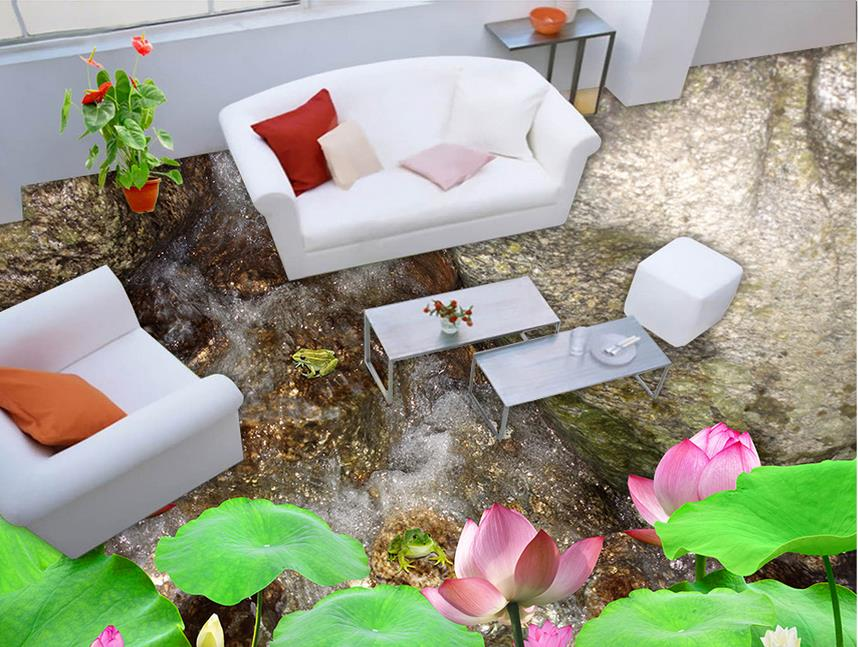 custom pvc vinyl flooring Wild Lotus photo wall mural 3d wallpaper floor waterproof wallpaper for bathroom vinyl floor tiles free shipping marble texture parquet flooring wallpaper bedroom bathroom office hotel decoration wear floor mural