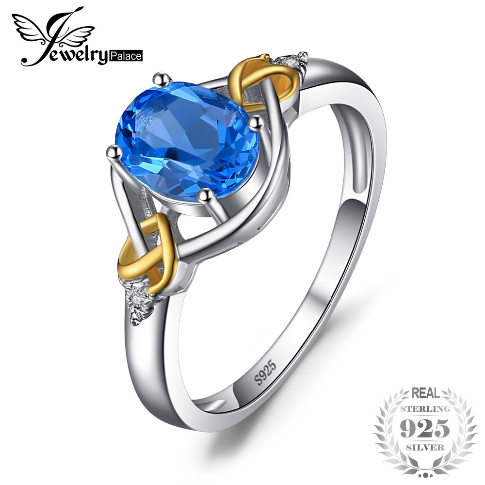 JewelryPalace Amour Noeud 1.5ct Naturel Bleu Topaze Diamant Accentué Promise Ring 925 Sterling Argent 18 k Jaune Or Femmes Bijoux