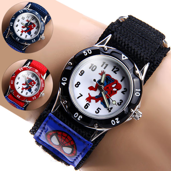 Spiderman cartoon watch fashion children boys kids students spider man nylon sports watches for Spiderman watches
