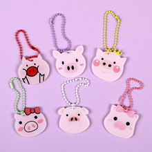 New 6 Expression Pig Keychain Cute Single Sided Animal Key Chain Pendant Acrylic Key Ring цена и фото