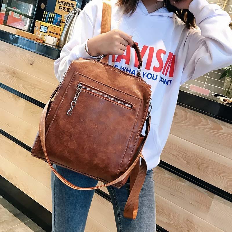 Image 2 - Women Backpack Leather School Bags For Teenage Girls Casual Large  Capacity Multifunction Vintage Black Shoulder Bags 2020  XA158HBackpacks