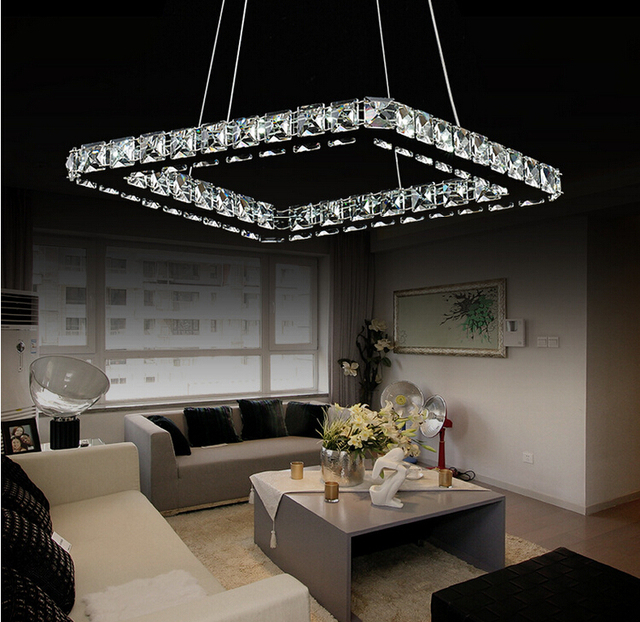 Luksusowe Srebrny Plac Kryształ Kryształowy żyrandol Lampa Led