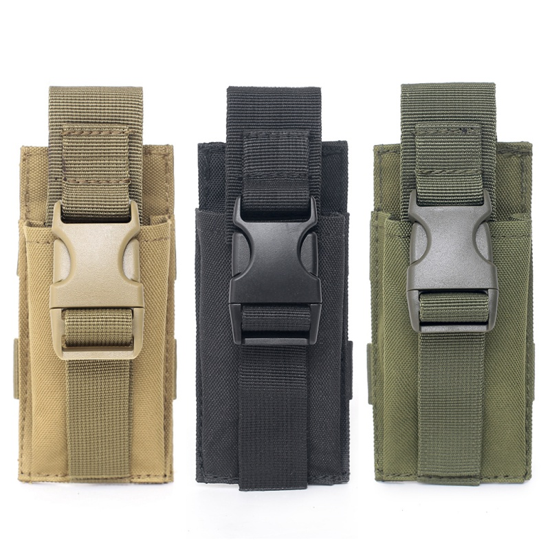 Military Molle Tactical Single Pistol Magazine Pouch EDC Airsoft Hunting Ammo Bag Holster Knife Flashlight Sheath Light Holder