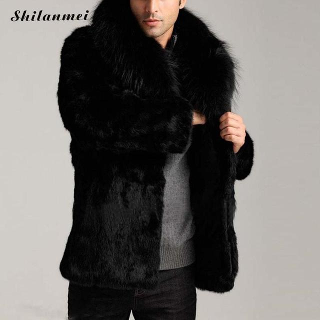 96794e051ed 2018 Men S Winter Faux Fur Coat Black Long Sleeve Lapel Collar Thick Warm  Fashion Man Artificial Fur Coat Plus Size Outwear 3xl