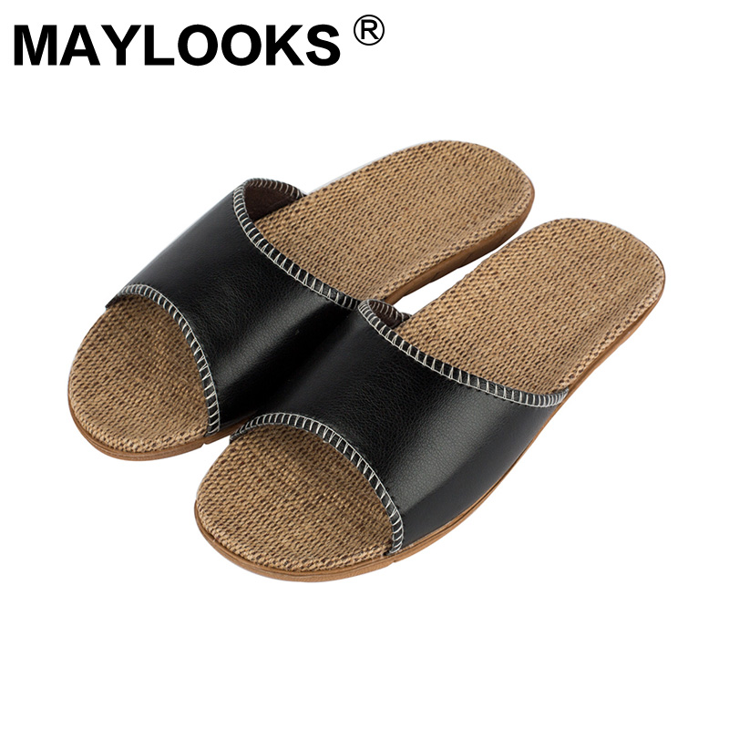 Men's slippers summer pu leather Linen woven breathable home indoor non-slip slippers 2018 new hot M-8836 ladies slippers summer genuine leather linen woven breathable home indoor non slip slippers 2018 new hot haisum tb010