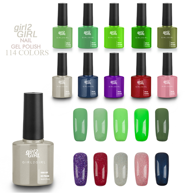 Girl2GIRL Gel barniz 8 ml 114 colores sólidos Pure empapa del gel ...