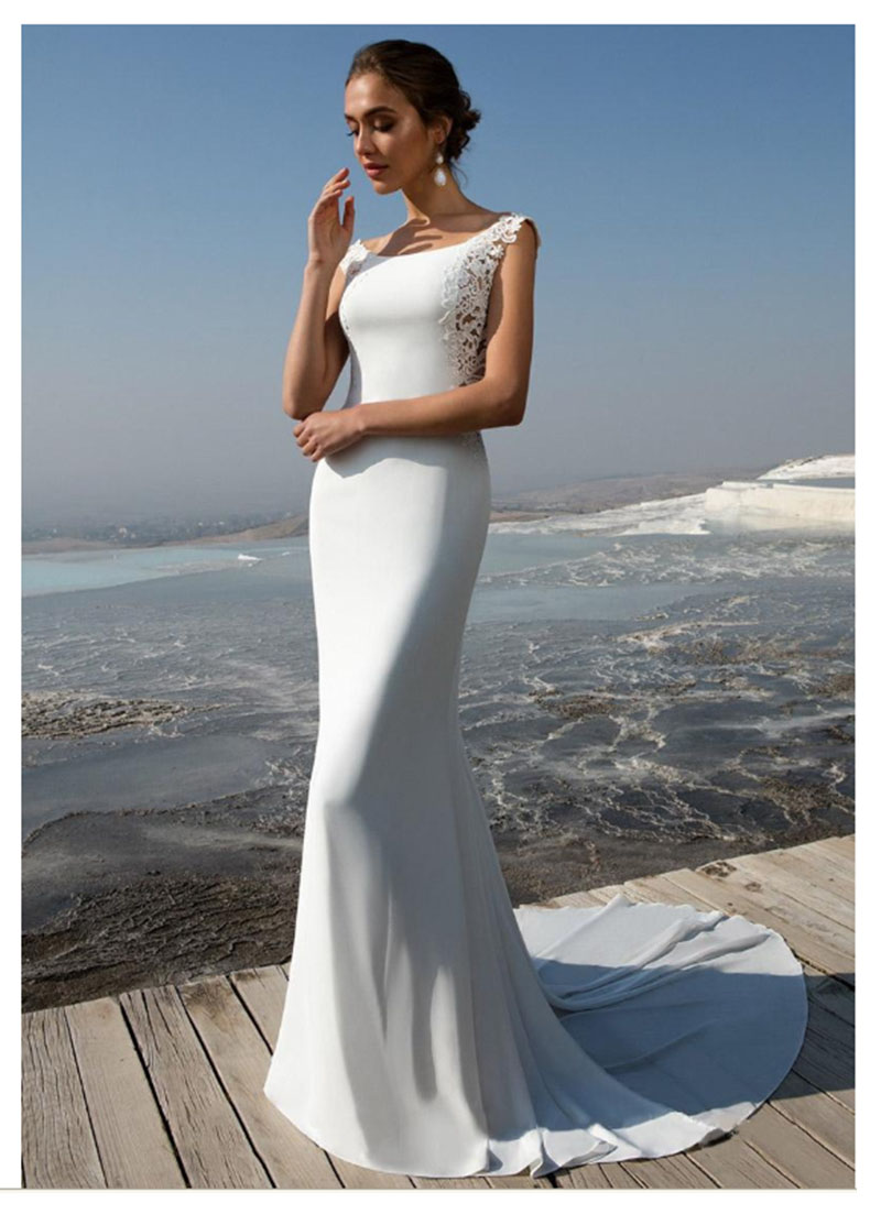 LORIE Wedding Dress 2019 Fabulous Stretch  Mermaid Wedding Dress With Lace Appliques Bride Dresses