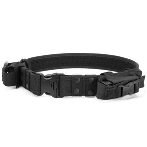 Heavy Duty Tactical Belt Adjustable Military Army Police Uniform Airsoft Utility Waist Belts with Dual Mag Pouches for Cosplay P(China)