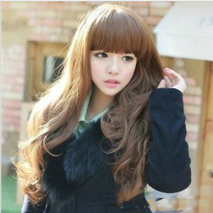 New 2014 Women's fashion half wig Popular Long Curly Hair Fluffy Waves Rolled Lady's Wigs Dark brown/Black 5 Colors