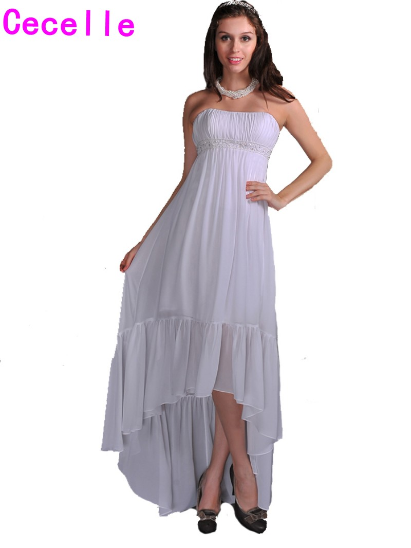 Cheap hi lo tea length maternity wedding dresses strapless ruched cheap hi lo tea length maternity wedding dresses strapless ruched chiffon informal beach wedding dresses on sale custom made in wedding dresses from ombrellifo Image collections