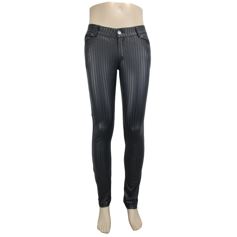 Devil Fashion Punk Men Tight Pants Steampunk Black Casual Tight Trousers Striation Skinny Pants - 4