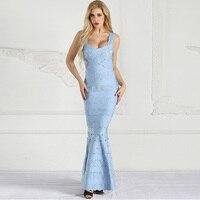 New Fashion Elegant Light Blue Celebrity Show Party Women Long Dress Jacquard Design Cocktail Graceful Gown Vestidos Wholesale
