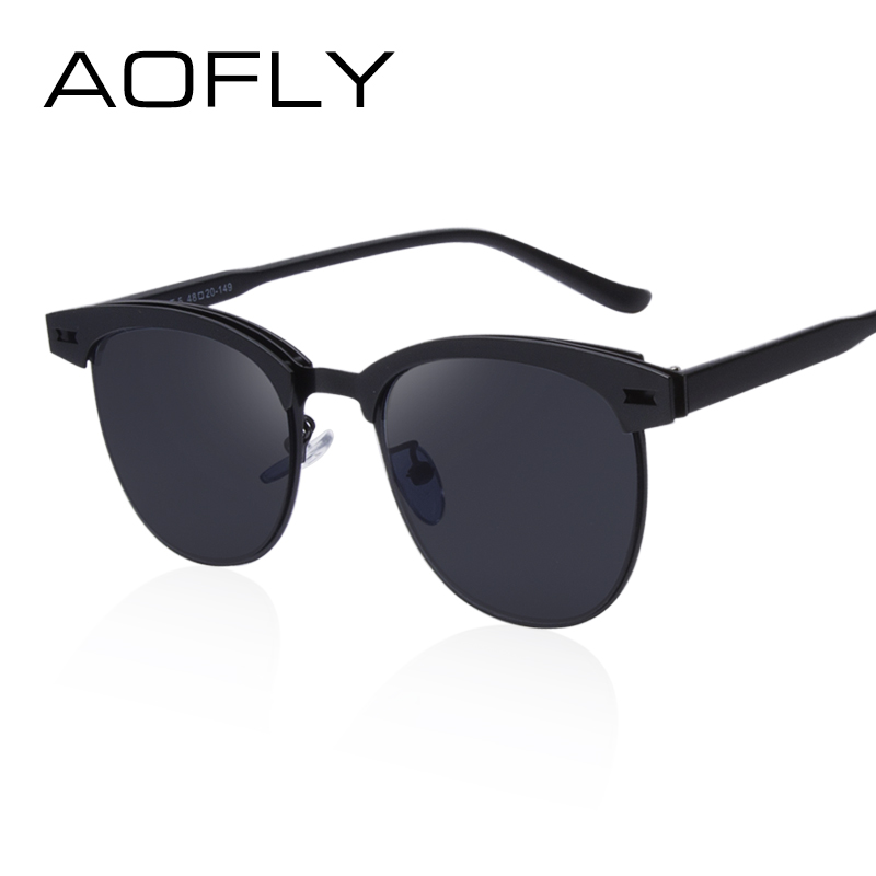 AOFLY Fashion Lady Sunglasses Metal Half Frame Sun glasses for Women Brand  Designer Vintage Square Mirror Shades UV400 Gafas-in Sunglasses from  Apparel ... d8907d3192